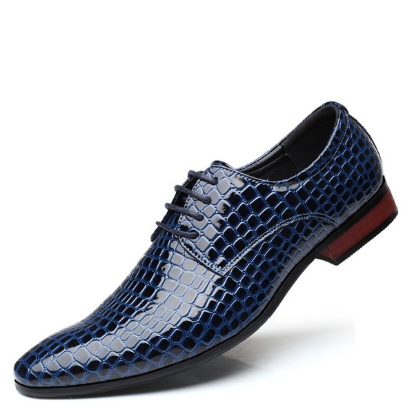 Pop Nice Big Size British Men Genuine Leather Shoes Men Lace-Up Stone Pattern Pointed-Toe Dress Shoes Dance Office Flats