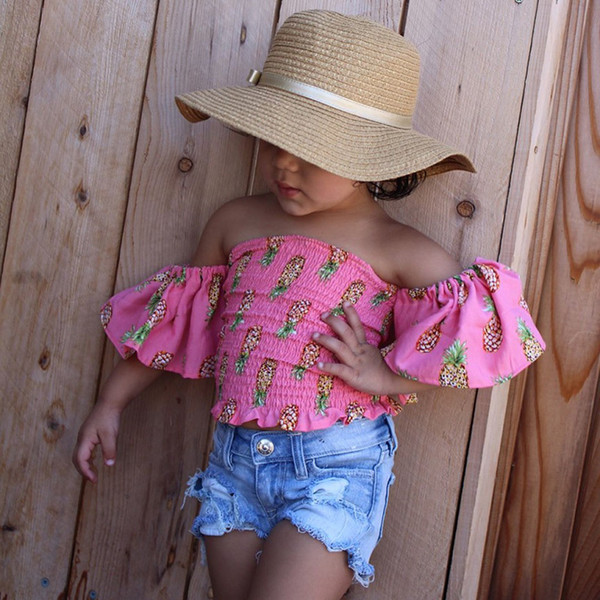 2018 Nouveau Bébé Filles Mode Ensemble Ananas Imprimé Tops Chemise + Short En Jean 2 Pcs Tenues Vêtements Pour Enfants Mignon D'été Bébé Filles Vêtements Ensemble