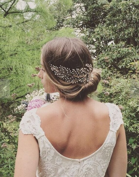 Handmade Pearls Gold Wedding Hair Accessories with Comb Charming Girls Hair Accessories Jewelry Bridal Wedding Accessories