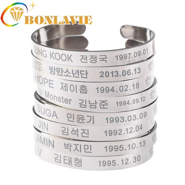 Hot Titanium Steel Bracelets Bangtan Boys BTS Members Name Date Cuboid SUGA  JIMIN JIN V JUNGKOOK Charm Open Bracelet Bangle White Gold Charm Bracelets