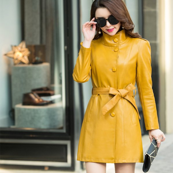 Women Long Leather Jackets With Belted 2018 Spring Newest Ladies Elegant Faux Elegant Coat Trench Female Outerwear Clothing 5XL