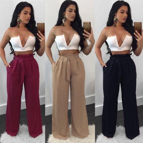 Moda Feminina Cintura Alta Perna Larga Calças Soltas Com Cordão Calças Laides Ocasional de Verão Escritório de Trabalho Calças Compridas