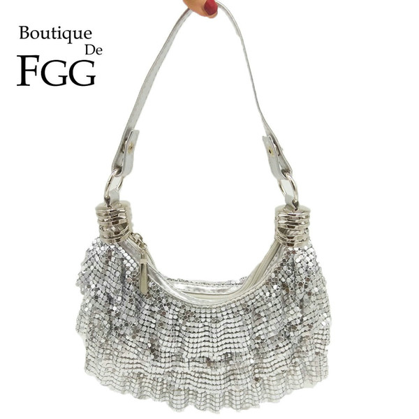 Boutique De FGG Women's Fashion Handbags and Purses Silver Aluminum Evening Party Shoulder Bags Ladies Casual Crossbody Bag