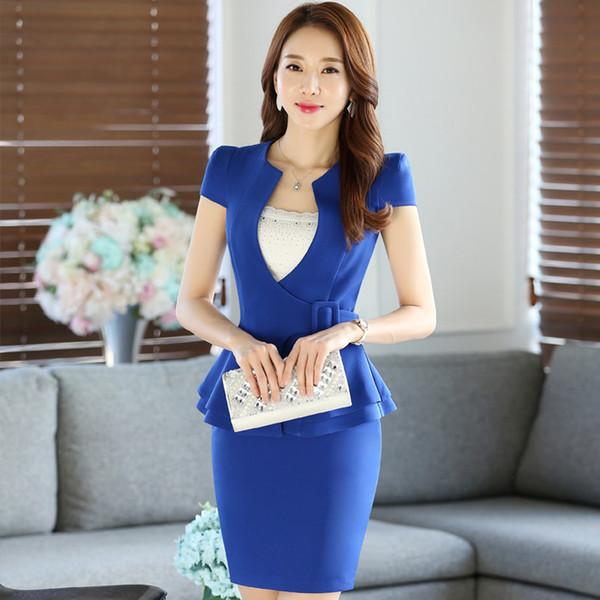 Summer Women Formal Casual Ruffles Work Professional Skirt Fashion Suit Dress set OL wear Plus Size Elegant Clothing DK814F Dropship