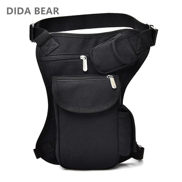 2018 Men Canvas drop waist bags Leg pack bag Men belt bicycle and motorcycle Money Belt Fanny pack For Work Black High Quality