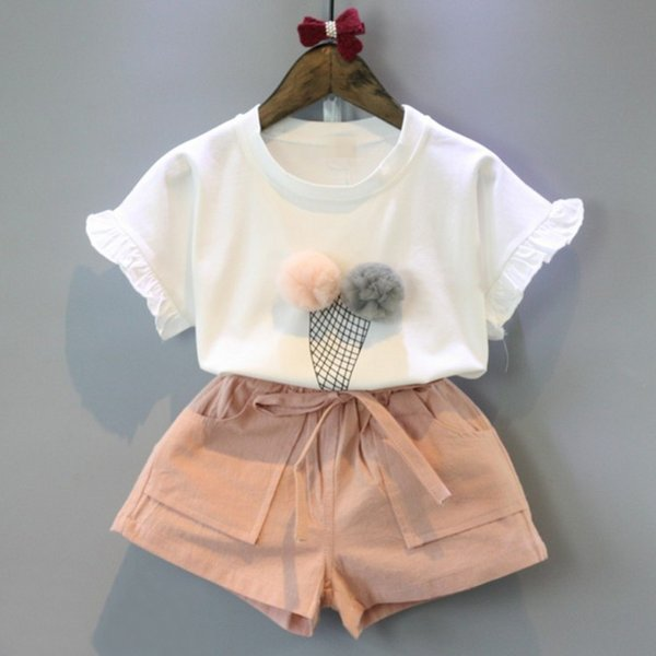 Free shipping-Summer 2018 girl's lovely two-piece ice cream, lace ball, short sleeved T-shirt and shorts set