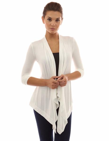 Cárdigan plisado de manga larga de color sólido para mujeres primavera Slim Fit Baita chaqueta de mujer