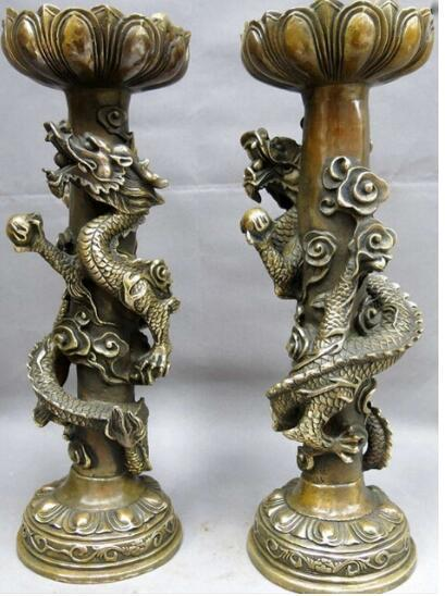 """15"""" China brass copper carved beautiful dragon play bead candlestick pair Statue"""