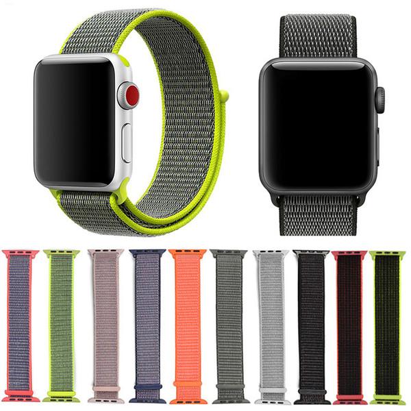 애플 시계 시리즈 5 4 3 2 40mm 44mm의 38mm에서 42mm 벨트 직물 짠 나일론 스포츠 루프 팔찌 스트랩 교체 손목 시계 밴드 손목 시계