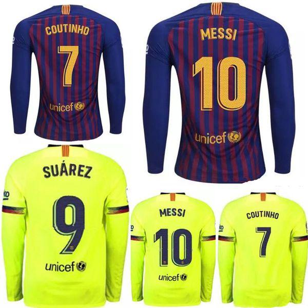 new arrival 74ef3 74302 2018 18 19 Fc Barcelona Messi Vidal Suarez O.Dembele Long Sleeve Jersey  2018 2019 Camisas Coutinho Iniesta Pique Rakitic Home Away Chandal Futbol  From ...