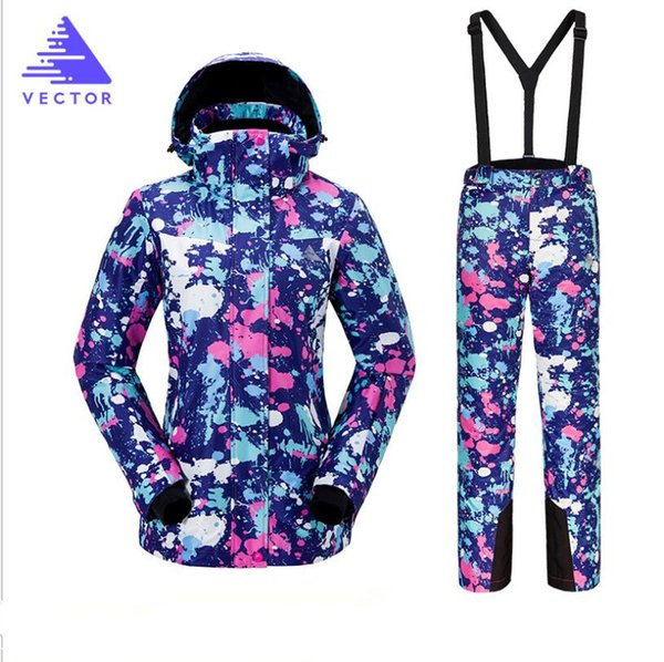 2018 VECTOR Brand Women Ski Jacket Pant Snowboard Clothing Trousers Windproof Waterproof Winter Clothing Super Warm Female Suit