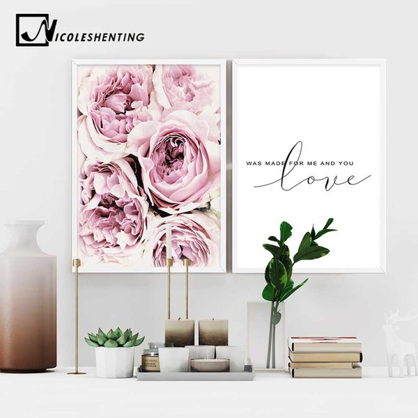 Scandinavian Style Pink Flower Painting Wall Art Canvas Posters Nordic Prints Decorative Picture Modern Home Bedroom Decoration