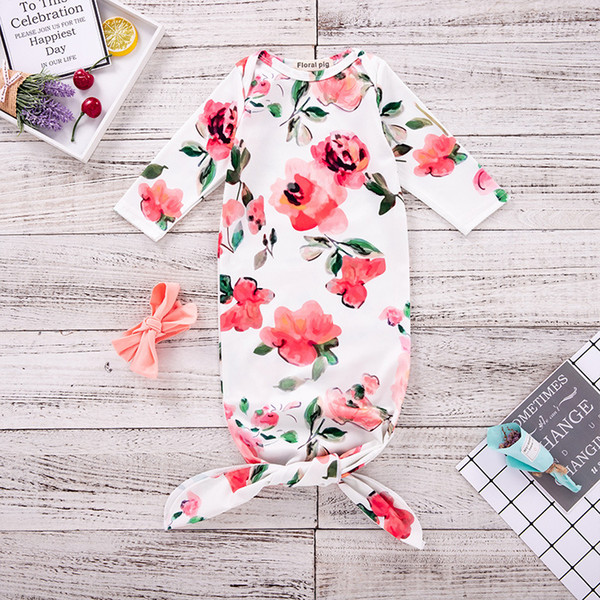 top popular Ins Infant Baby Swaddle Sleeping Bags Baby Girls Florals Tops Blanket with Headband Newborn Baby Soft Cotton Sleep Sack 14070 2021