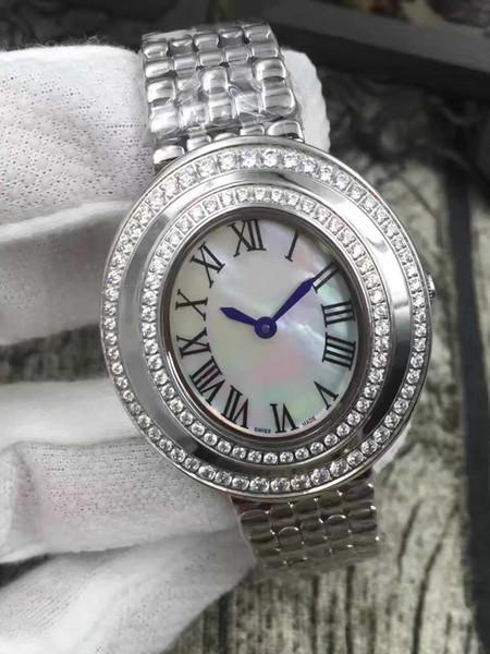 Moda Kadınlar Rhinestone Saatler Lady Elbise İzle Elmas Lüks Paslanmaz Çelik Bilezik Kol bayanlar Kristal Kuvars Kadınlar Saat