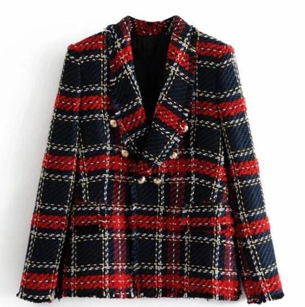 2018 Kış Kadınlar İngiltere Stil Ekose Yün Blazer Metalik Düğmeler İnce Tüvit Blazer ve Ceketler