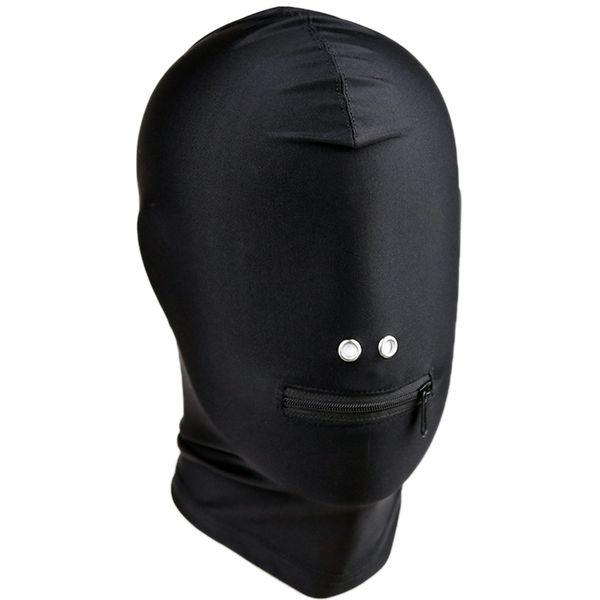 Fetish sexy zipper boca abierta arnés capucha arnés de cabeza bondage adultos SM traje juguete juego sexual para mujeres hombres pareja S1017