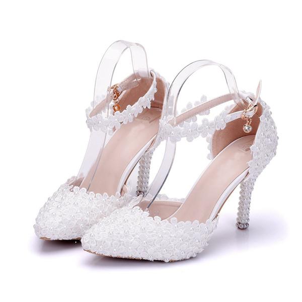 Talons Pompes Talon Fins Bout Blanc D'été Acheter Princesse Chaussures Dentelle Formelle Pointu Sandales De Haut Chaussures Mariage Chaussures À Robe PkXZiuO