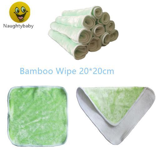 Lingettes pour bébés en bambou Naughtybaby, lingettes réutilisables et réutilisables pour salive, 20cmx20cm, paquet de lingettes en tissu 12pcs
