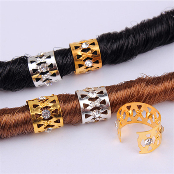 best selling New Gold Silver Rhinestone Hair Dread Braids Dreadlock Beads Adjustable Braid Cuffs Clip Heart Shape Hair Extension Tool Hair Ring