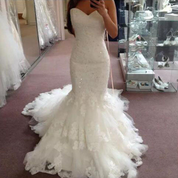 Wedding Dresses Bridal Gowns Fit and Flare Sweetheart Sleeveless Beaded Lace Appliques Tulle Skirt Corset Bridal Gowns Court Train