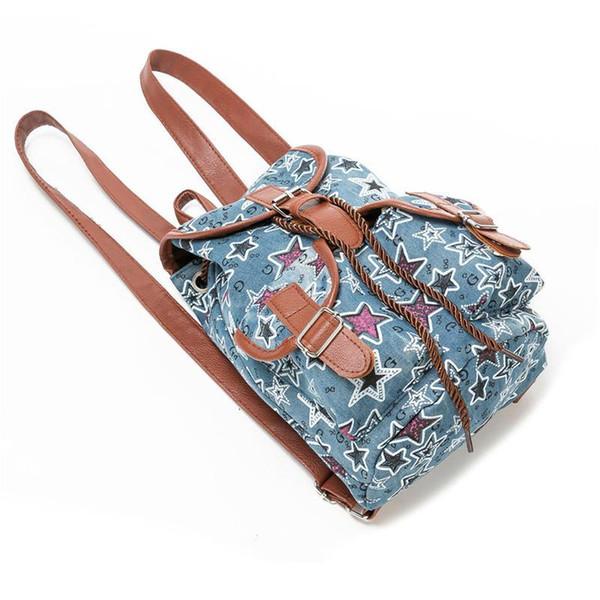 Designer high quality denim backpack female vintage star crystal print jeans bag women travel backpacks sac Girls School Bags Cute Backpac