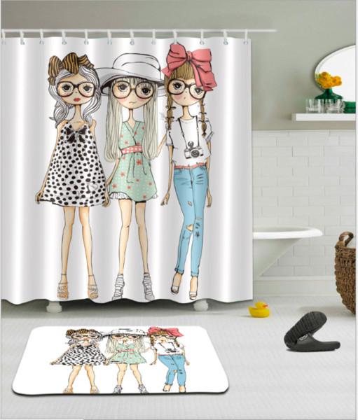 Three girls 3D pattern Print Custom Waterproof Bathroom Modern Shower Curtain Polyester Fabric Bathroom Curtain Door mat sets