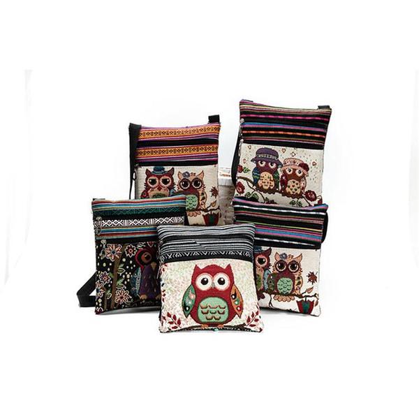 Cartoon Owl Imprimé Messenger Sacs Pour Filles Femmes Femelle Femelle Mini Flap Owl Sacs À Main Épaule Sacs Double Zipper