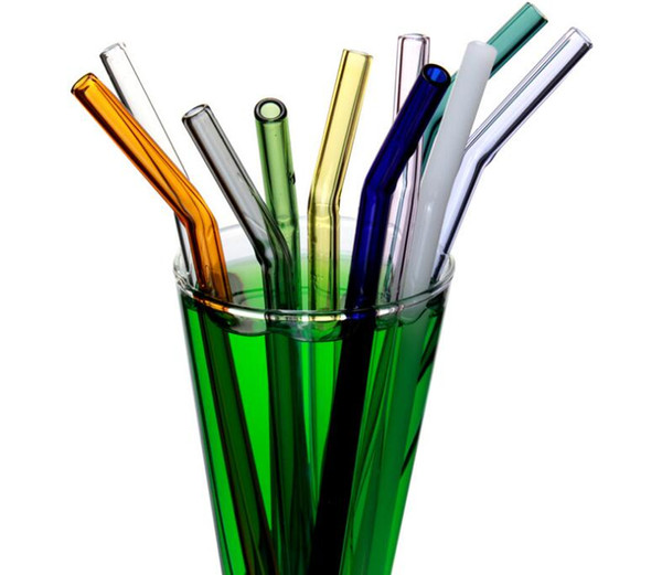 best selling Reusable Eco Borosilicate Glass Drinking Straws Clear Colored Bent Straight Straw 18cm*8mm Milk Cocktail Drinking Straws