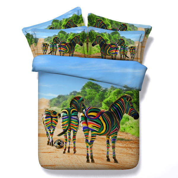 3D animal Duvet Cover colorful Zebra Bedding Sets forest Bedspreads Holiday Quilt Covers Bed Linen Pillow Covers California King
