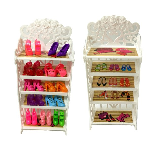 One Set 2018 Newest Doll Shoes Rack Playhouse Accessories For Doll Furniture Kids Toys Best Gift For Girl's