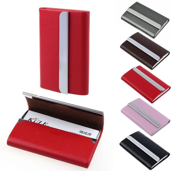 New pu Leather Business  Name Id women men fashion Card Holder Case Wallet Box Stainless iron +PU pocket purse bag