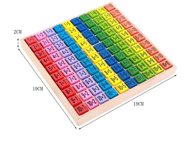 Multiplikationstabelle Math Spielzeug 10x10 Double Side Muster Leiterplatten Bunte Holzfigur Block-Kinder-Neuheit-Einzelteile