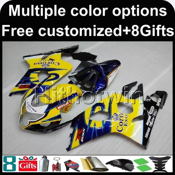 8Gifts + Paneles personalizados para K4 AMARILLO AZUL 04 05 GSXR 600750 2004 2005 ABS Kit de juego de carrocería de carenado de plástico