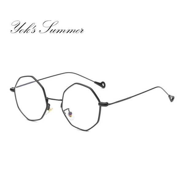 Yok's Summer Korean Anti Blue Ray Glasses Octagon Vintage Round Womens Metal Frame Eyeglasses Men Computer Gaming Glasses WH043