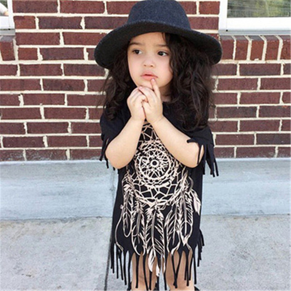 Matching Mother daughter dresses INS 2018 Tassels dress Family Matching Outfits Short Sleeve Mother & Kids Children dress clothing Irregular