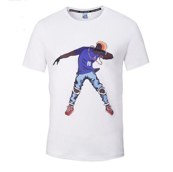 Men's Street Hip Hop Young Man 3D Skateboard Man Printing T-shirt Crew Neck White Casual Tee