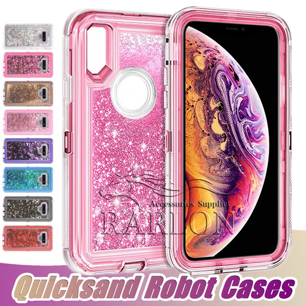 New 3D Glitter Sparkle Dual Layer Quicksand Liquid Cover Clear Shockproof Bumper For iPhone XR XS MAX X 8 7 Plus Samsung S10 E S9 S8 Note 9