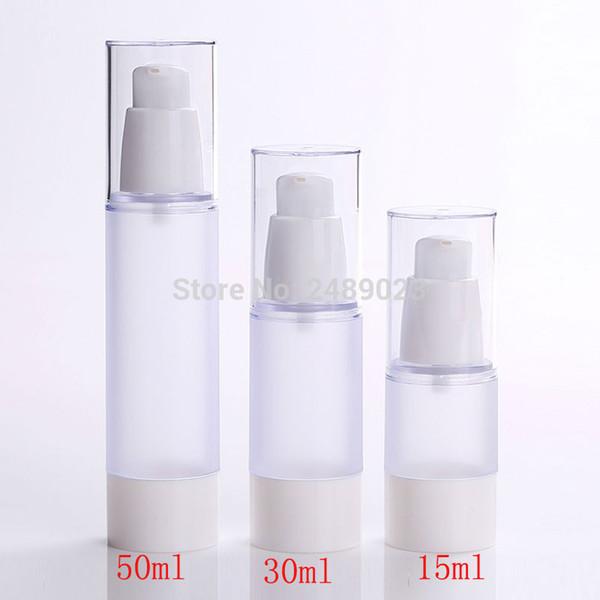 Estilo coreano 15 ml 30 ml 50 ml Vacío claro Airless recargable bomba de vacío crema loción botella con frosted botellas de cuerpo 100 unids / lote