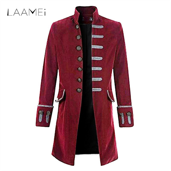 Laamei Vintage Plus Size Men Jacket Trim Steampunk Jacket Long Sleeve Stand Collar Jackets Male Gothic Brocade Frock Clothes