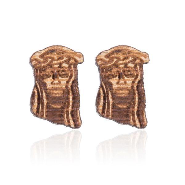 Allergy free wood stud earrings Hip-hop Christmas the avatar Jesus Christ fashion high quality creative wood stud earrings NY-026