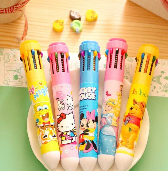 2pcs Lot 10 Colors Cute Cartoon Stationery Hello Kitty Princess Ballpoint  Pen Office School Supplies Pens For Gifts 004