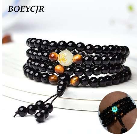 BOEYCJR Dragon Black Buddha Beads Bangles Bracciali Gioielli fatti a mano Braccialetto etnico incandescente nel buio per donne o uomini