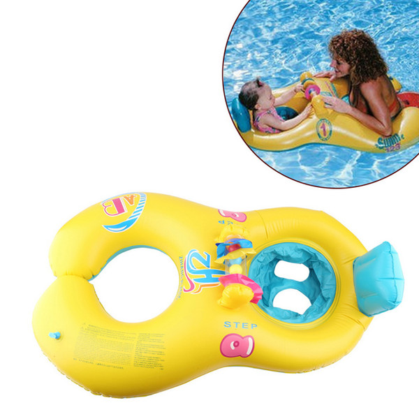 Safe Inflatable Mother Baby Swim Float Ring Kids Seat Double Person Swimming Pool Flamingo Donut Swan Newborn Swimming Ring 4 Colors