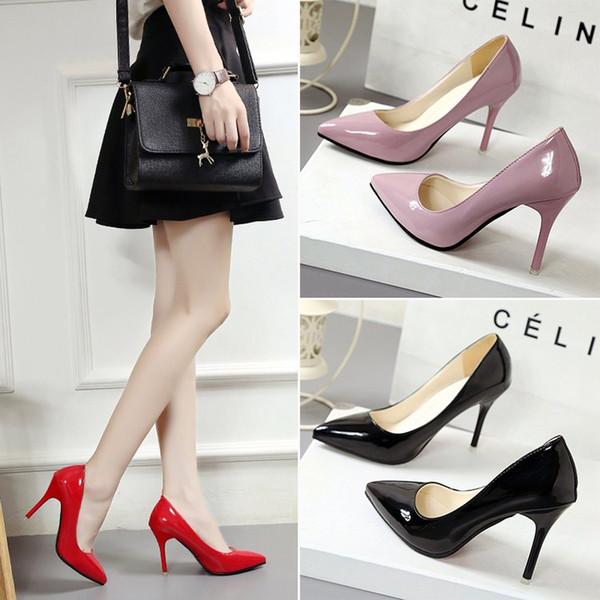 Klassische Frauen Marke 5 Farben High Heels Lackleder Spitze Zehen Kleid Schuhe Flach Mund Rote Sohle Hochzeit Schuhe