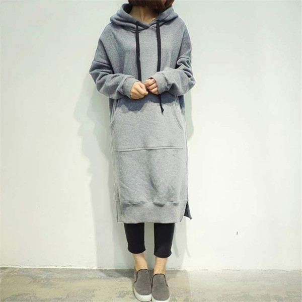 2018 Women Oversize Casual Straight Solid Long Dress Ladies Long Sleeve Hooded Pockets Mini Plus Size Dresses