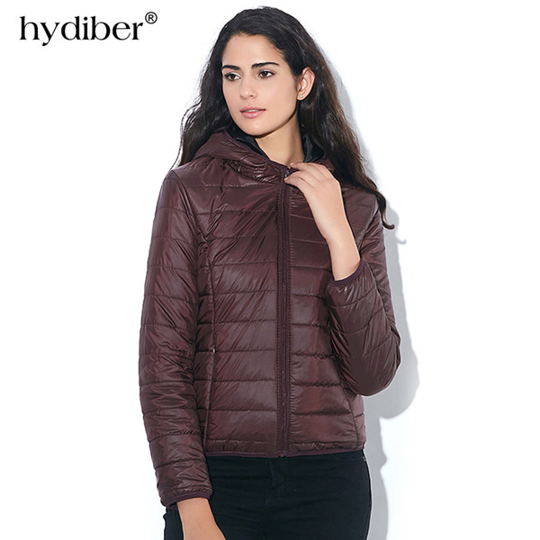HYDIBER 2018 New Brand Fashion Winter Jacket Women Cotton Hooded Women's Long Sleeve Basic Coat Casual Slim Solid Parkas S18101204