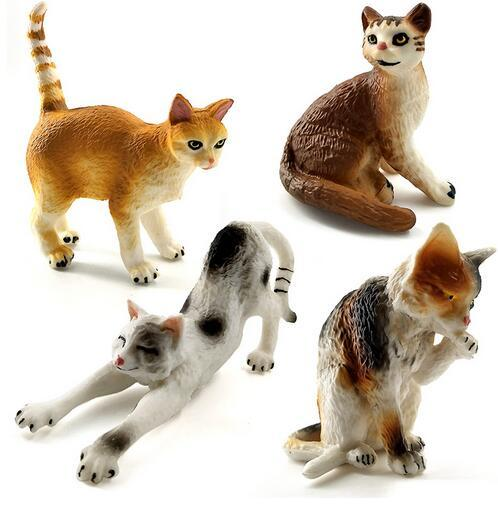 Farm Simulation Cats mini animal models toy small plastic animal figures home decor Gift For Kids figurine dolls Cake Decoration