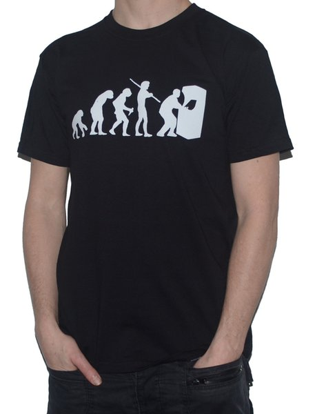 NEW APE TO ARCADE MACHINE PLAYER Evolution of Man T-SHIRT for Gamers Retro Style Round Style tshirt