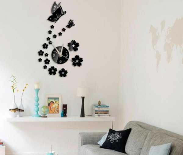 Hot Diy Mirror Wall Clock Acrylic 3d Stickers Europe Decor Living Room Gift Home Furniture Butterfly Sticker Garage Clock Gear Wall Clock From Santi