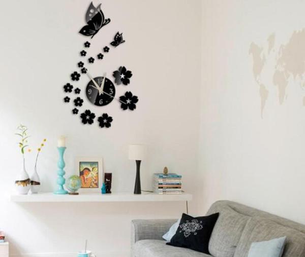 Hot 50 unids Diy espejo reloj de pared de acrílico 3d pegatinas europa decoración salón muebles para el hogar etiqueta de la mariposa